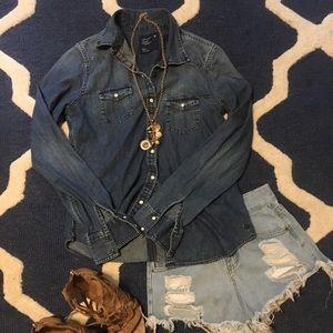 Jean button up blouse